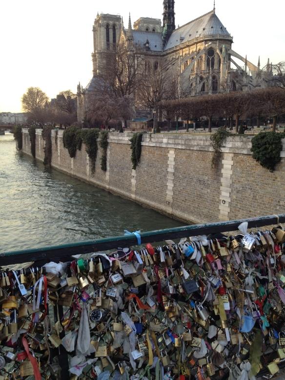 The Lock Bridge (Pont de l'Archevêché) and Notre Dame