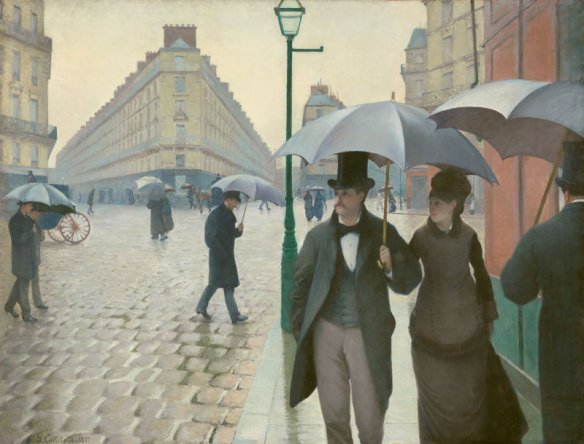 Gustave Caillebotte, Paris Street; Rainy Day (1877), Art Institute of Chicago, Charles H. and Mary F. S. Worcester Collection.