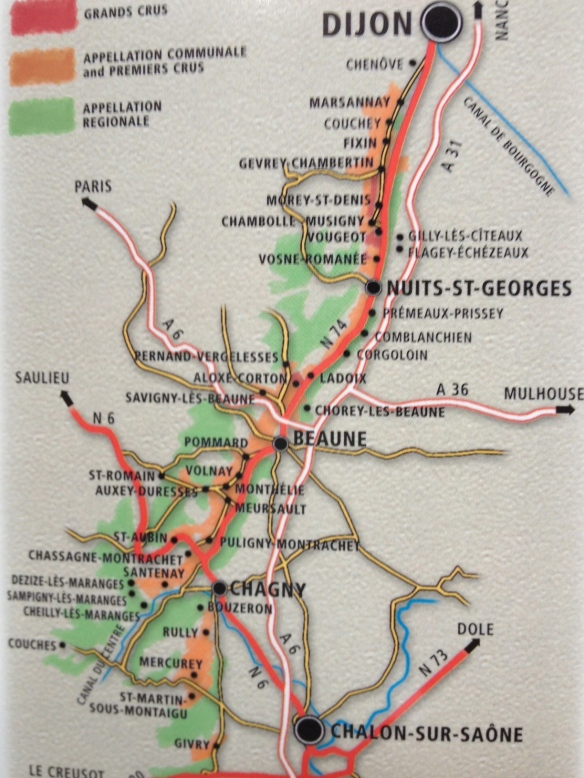 A map of Cote de Beaune and Cote de Nuits from Dijon to the north and St. Aubin to the south.