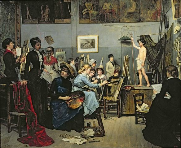 Marie Baskirtsheff, In The Studio (1881). A painting of the women of Académie Julian.
