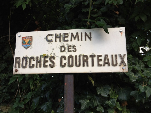 These signs might be hard to find without GPS. They're along a small little pathway called Chemin des Roches Courteuax that runs along the Seine.