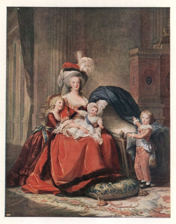 Marie Antoinette and Her Children by Elisabeth Vigée Le Brun (1787).  One of the last paintings Elisabeth would ever make of the royal family before the revolution tore them away from Versailles. The painting can still be seen in the Palace of Versailles.
