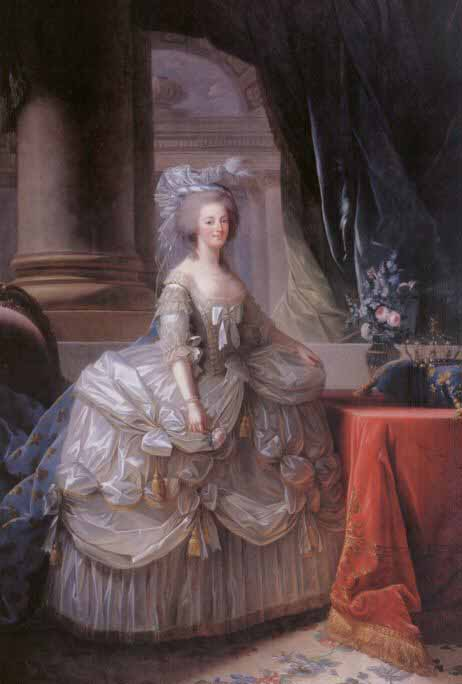 Marie Antoinette by Elisabeth Vigée Le Brun (1778). Supposedly, Le Brun made 6 copies of this painting. Two are in the French state collection, one was lost or stolen when the US congress  was burned by the British in 1812, one was given to Catherine the Great (location now unknown) and two others are missing.