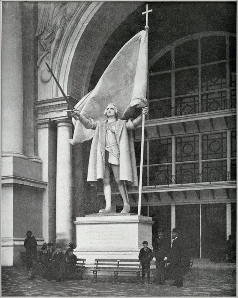 """""""Columbus Taking Possession."""" The Administration Building From Columbian Gallery: A Portfolio of Photographs of the World's Fair, The Werner Company. The prominent and handsome figure of Columbus, which stood in the portal, was the work of Miss Mary T. Lawrence, and represented the landing of Columbus, and the planting of the Spanish flag in the colonies of the New World. 1893. Source: http://www.flickr.com/photos/field_museum_library/3409425513/in/photostream/"""
