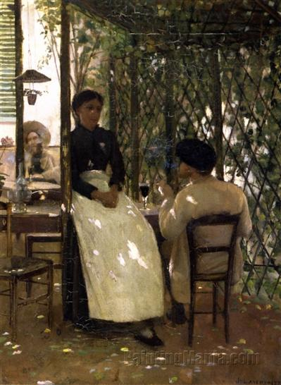 Hotel Chevillon by Sir John Lavery (1883), an Irish artist who visited Grez and painted this captivating picture of the garden at Hotel Chevillon.