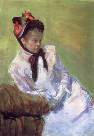 Mary Cassatt, Self-Portrait (1878),  gouche on paper 23x17in Metropolitan Museum of Art, NY