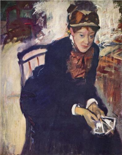 Edgar Degas, Portrait of Mary Cassatt (1880-1884).  Mary Stevenson Cassatt / Edgar Degas / Oil on canvas, c. 1880-1884 / National Portrait Gallery, Smithsonian Institution; gift of the Morris and Gwendolyn Cafritz Foundation and the Regents' Major Acquisitions Fund, Smithsonian Institution.