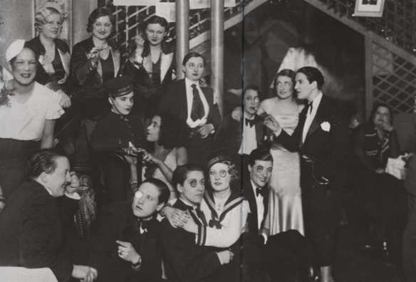 A photo from Le Monocle, a lesbian bar in Montmartre in the 1920s-40s, via http://civillyunioned.tumblr.com/post/11186839284/le-monocle-was-a-well-know-lesbian-bar-located-in