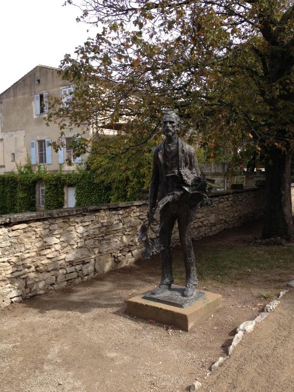 Sculpture of Van Gogh at the entrance of St-Paul-de-Mausole