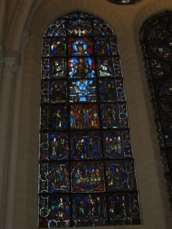 The Blue Virgin Window in the Chartres Cathedral.