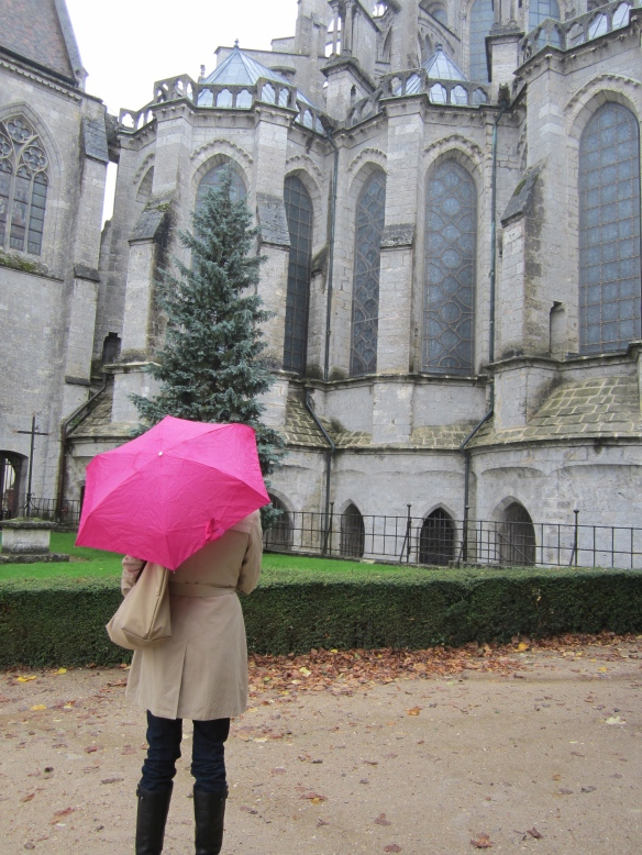 Standing in the rain outside the cathedral