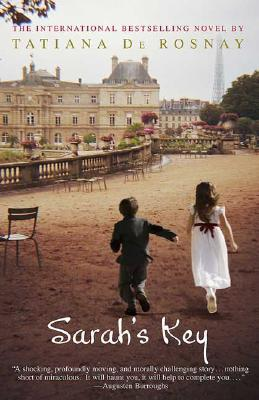 The original US cover of Sarah's Key. (In which the Eiffel Tower strangely appears on the wrong side of Luxembourg Palace?)
