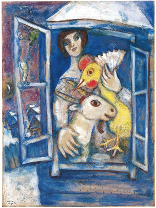 Marc Chagall, Bella with Rooster in the Window, Private Collection. In the story, Lisette imagines that the woman in the window might be her, along with her own little pet goat named St. Genevieve.