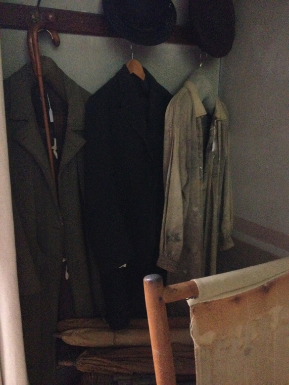 A nice touch - Cézanne's coats and art smock hang in the corner of his studio.