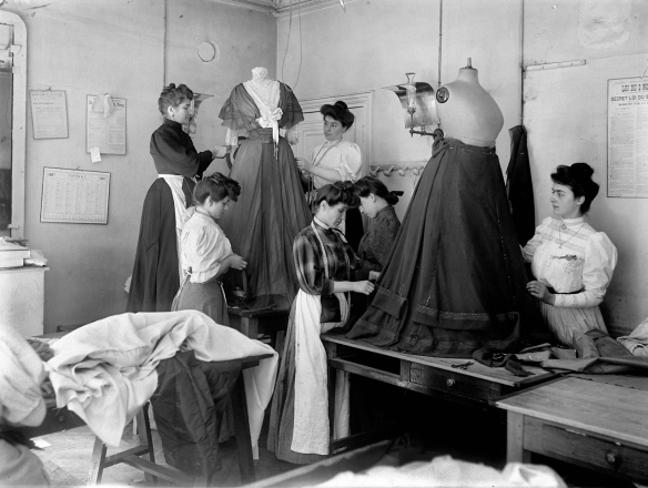 Seamstresses at the atelier de couture chez Worth, Paris 1907