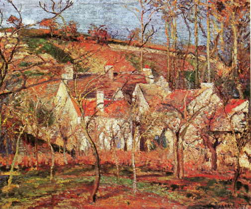 Pissaro, Red Roofs,Corner of a Village, Winter, Le Verger, Cotes St-Denis a Pontoise, oil on canvas (1877) Musé d'Orsay, Paris