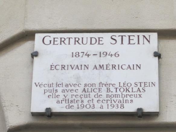 Gertrude Stein's apartment still stands at 27 rue de Fleurus not far from boulevard Raspail in Montparnasse.