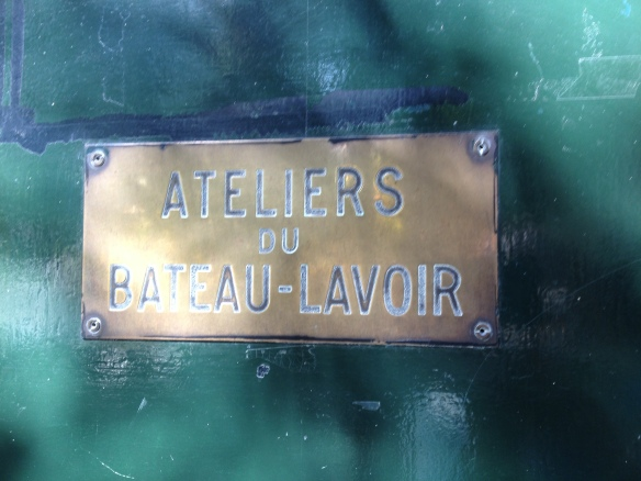 The plaque on what is left of the old Bateau-Lavoir located