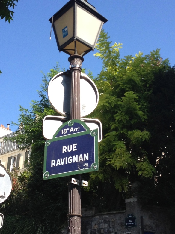 rue Ravignan is a lovely spot near the top of the hill of Montmartre.