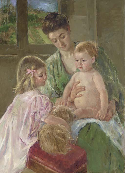 Cassatt, Children Playing with a Dog (1907)