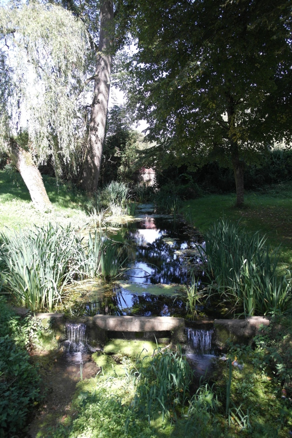 The grounds of the chateau including a brook and acres of weeping willow and pond vegetation.