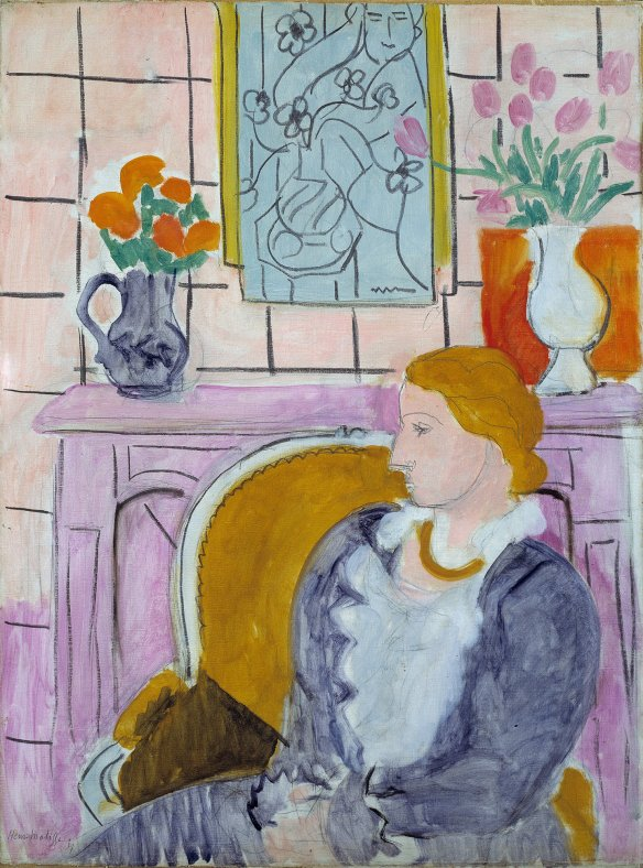 Matisse, Woman in Blue in Front of a Fireplace (1937)