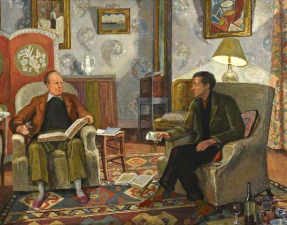 Vanessa Bell, Interior Scene with Clive Bell and Duncan Grant Drinking Wine, Birkbeck Collection, University of London
