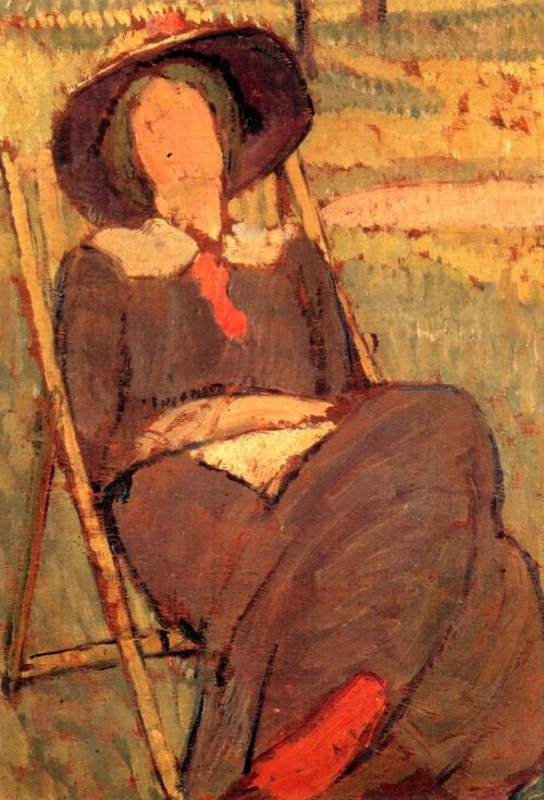 "Vanessa Bell, Virginia Woolf in a Deckchair (1912), Oil on board, Mimi and Peter Haas. (Leonard Woolf once said that this portrait was ""more like Virginia in its way than anything else of her."")"