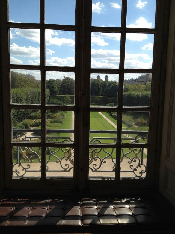 The view from an upstairs window of Musée Rodin onto the south garden