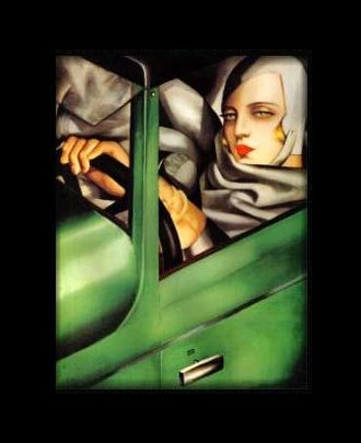 Tamara de Lempicka, Self-Portrait in a Green Bugatti, 1925 (Private Collection)