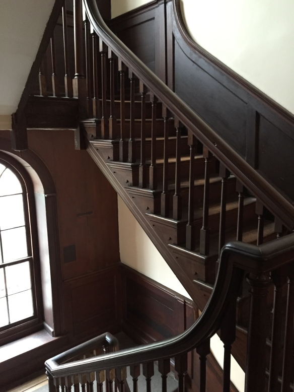 The stairs from the second floor landing. Sarah Grimké would have lived in a room on the third floor along with her other siblings.