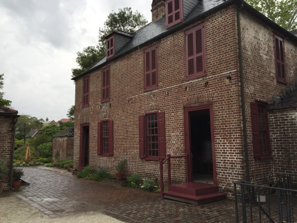 One of the out buildings at the Hayward-Washington House. The downstairs included the kitchen and laundry room and the upstairs was slave quarters. This helped me picture what the backyard was like for Hettie and her mother.
