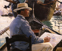 Jane Emmet de Glehn, Wilfred Sketching in a Gondola, 1904