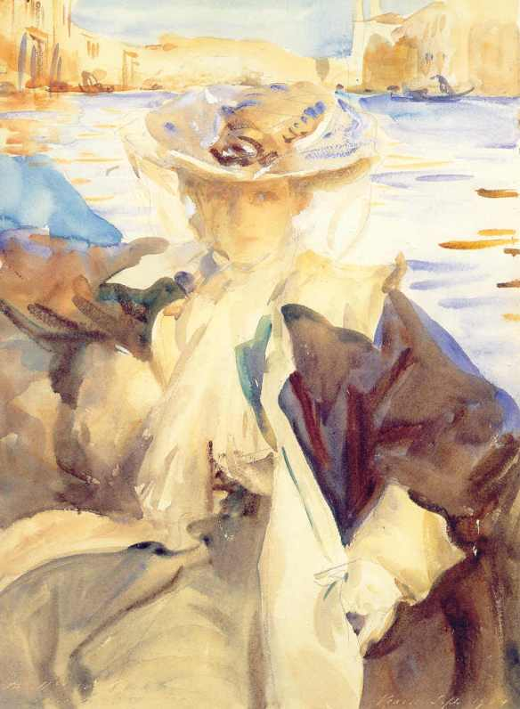John Singer Sargent, In a Gondola (Jane de Glehn), watercolor on paper (1904)