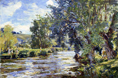 Wilfred de Glen, Jane de Glehn Painting by the River Avon, c. 1943
