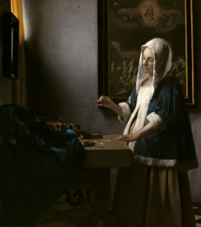Johannes Vermeer , Woman Holding a Balance (c. 1664), oil on canvas, Widener Collection, National Gallery of Art, Washington, D.C.