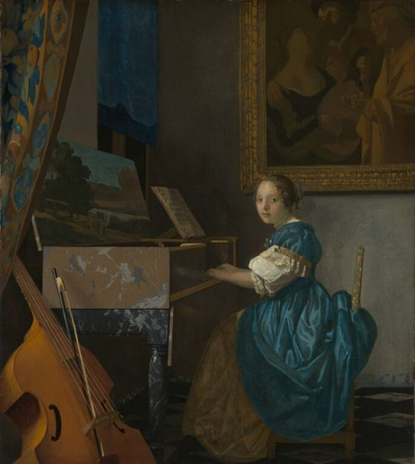 Johannes Vermeer, A Young Woman Seated at a Virginal (c. 1670-1672), oil on canvas, National Gallery, London
