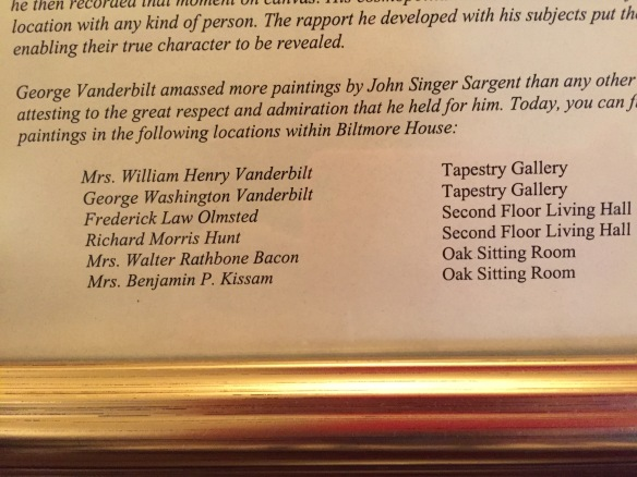 The framed information in the John Singer Sargent Suite at the Inn on Biltmore Estate