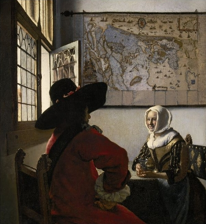 Johannes Vermeer, Officer with Laughing Girl (c. 1657), oil on canvas, Henry Clay Frick Bequest, The Frick Collection, New York