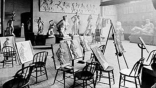 "Drawing studio at the Pennsylvania Academy of Fine Arts, in what would have been an ""Antique Class"""