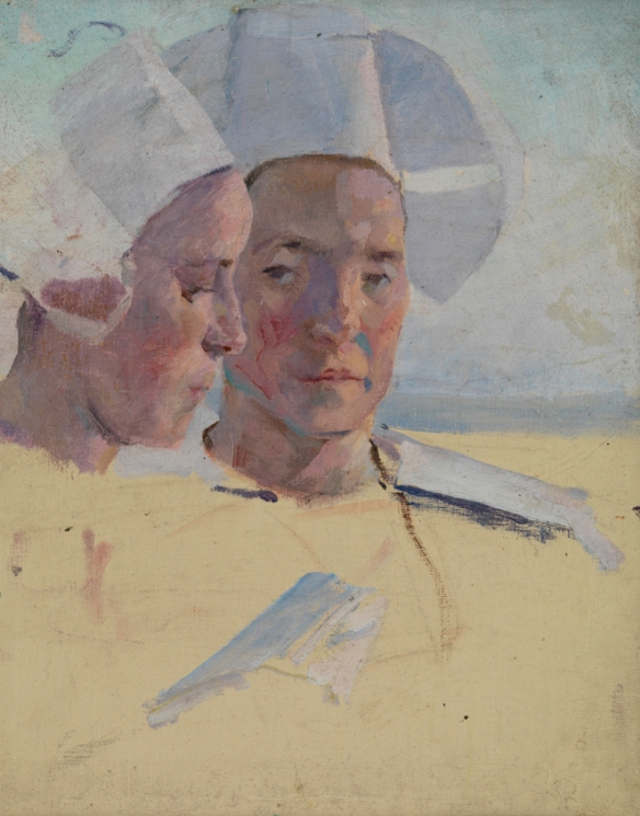 Cecelia Beaux, Study of Two Breton Women, Concarneau, France (1888), Oil on canvas, Pennsylvania Academy of the Fine Arts